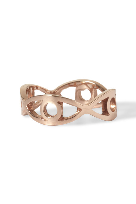 Slight Jewelry 4-Eye Stacking band in 14K Rose Gold and Silver