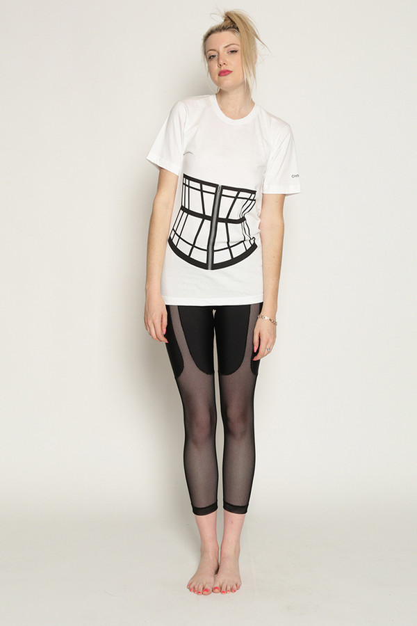 Chromat Corset Cage T-Shirt in White/Black