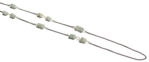James and Jezebelle Aqua Marine Strand with Oxidized Chain Necklace