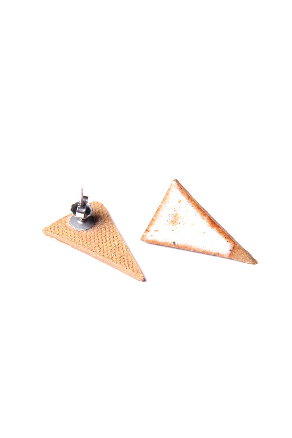 Maple & Mauve White Triangles in Natural Stone Earrings