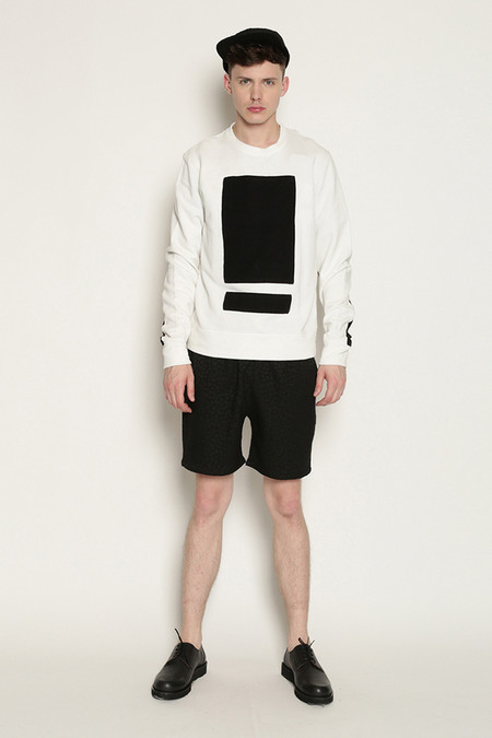 Men's Tourne De Transmission Splitbox Sweat in White/Black