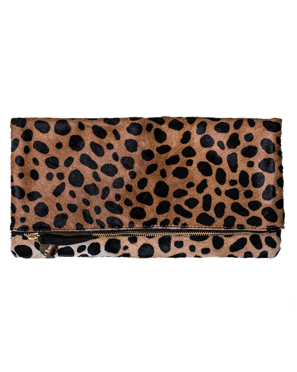 Clare V. Foldover Clutch in Leopard Hair