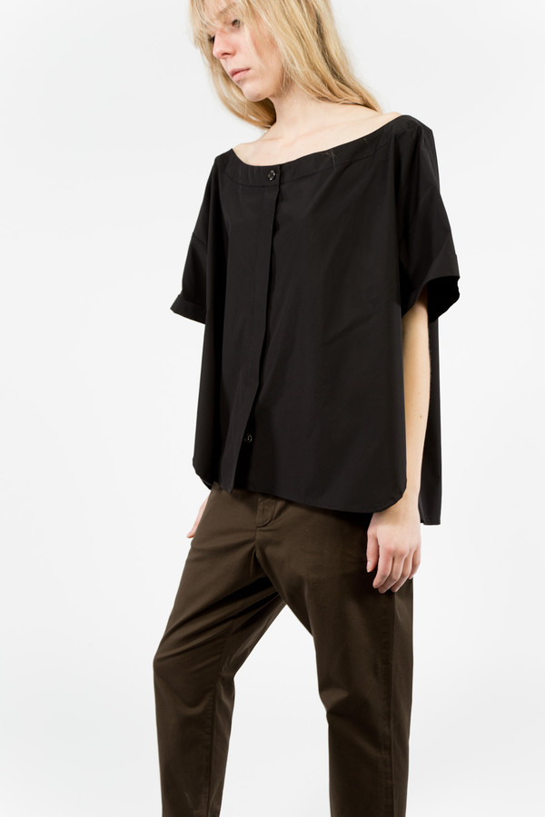 Suzanne Rae Off-Shoulder Button-Up Blouse