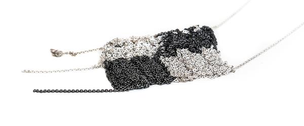 Arielle de Pinto Board Game Drop Necklace - Silver + Midnight