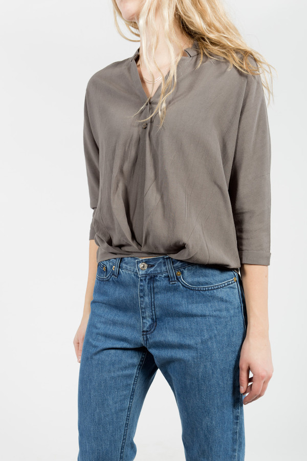 7115 by Szeki Twisted Slouchy Blouse