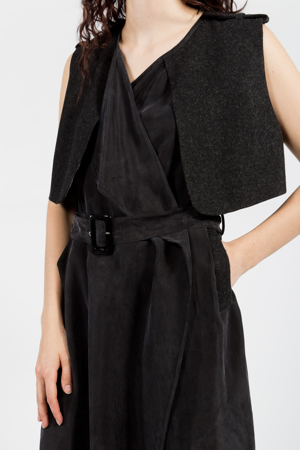 7115 by Szeki Vest Wrap Dress