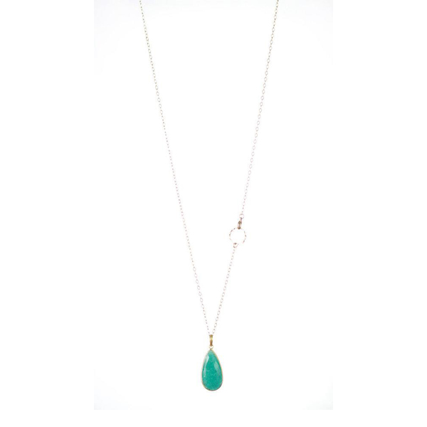 Lisbeth Gold Amazonite Drop Necklace