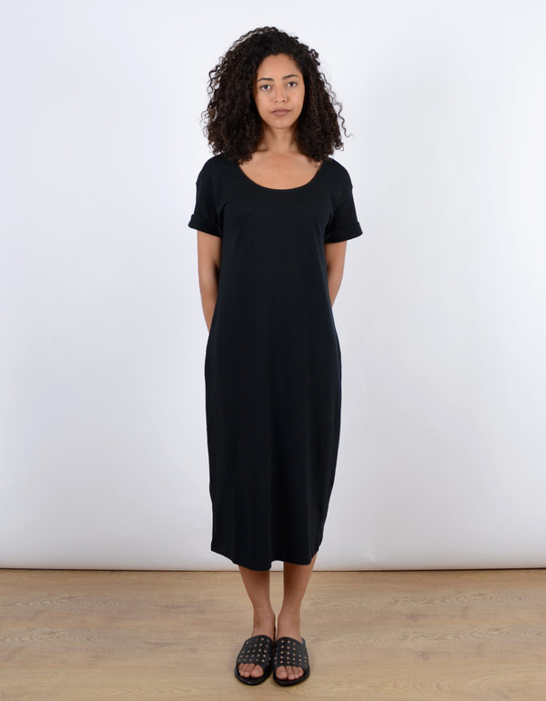 Ali Golden Roll Sleeve Tee Dress Black