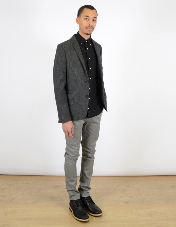 Ben Sherman Herringbone Blazer Graphite Grey