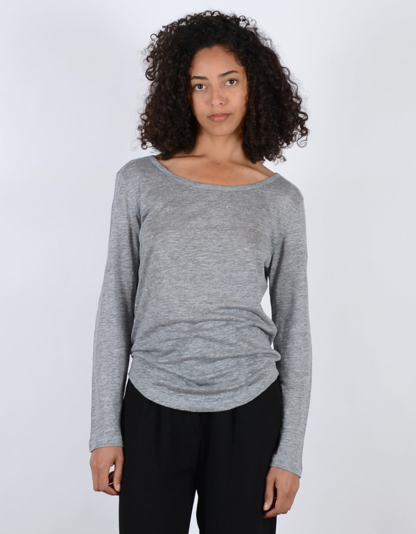 Filippa K Linen Long Sleeve Tee Light Grey Melange
