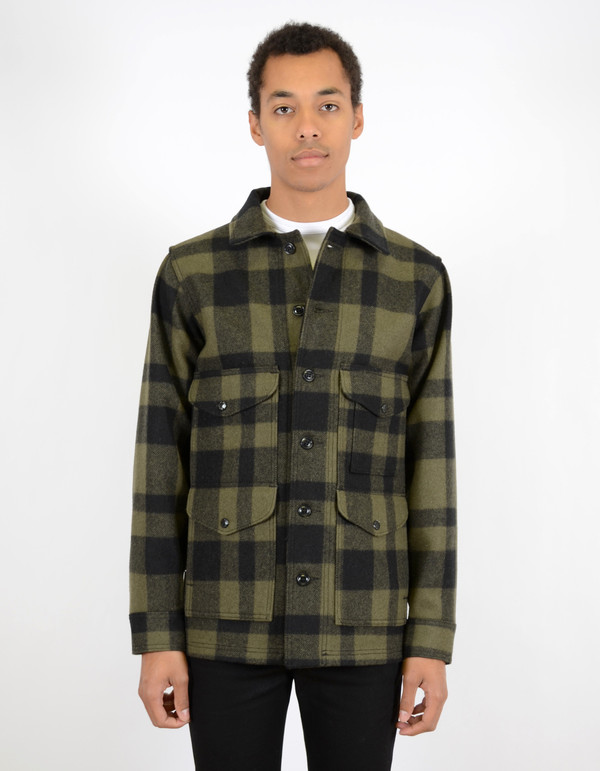 Men's Filson Mackinaw Wool Seattle Fit Cruiser Otter Green Black