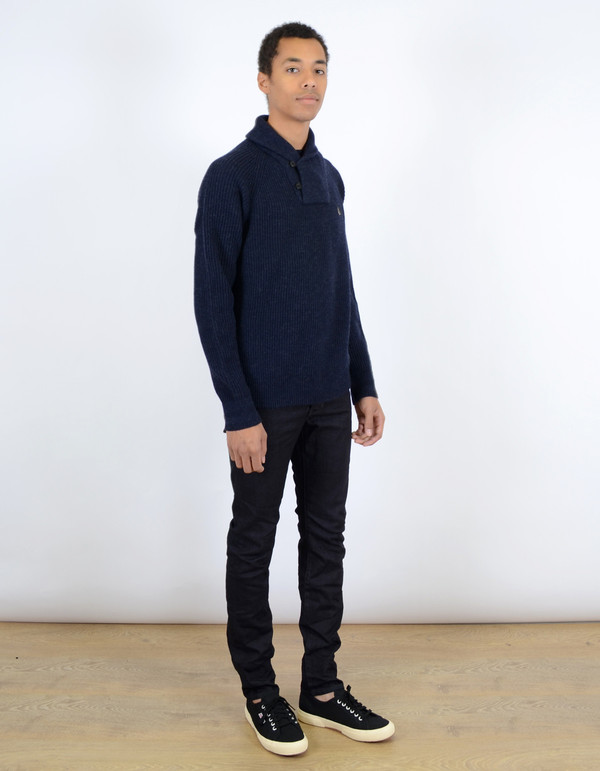 Men's Fred Perry Fishermans Shawl Collar Sweater Navy