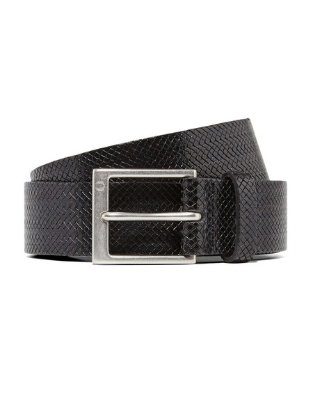 Fred Perry Textured Leather Belt Black