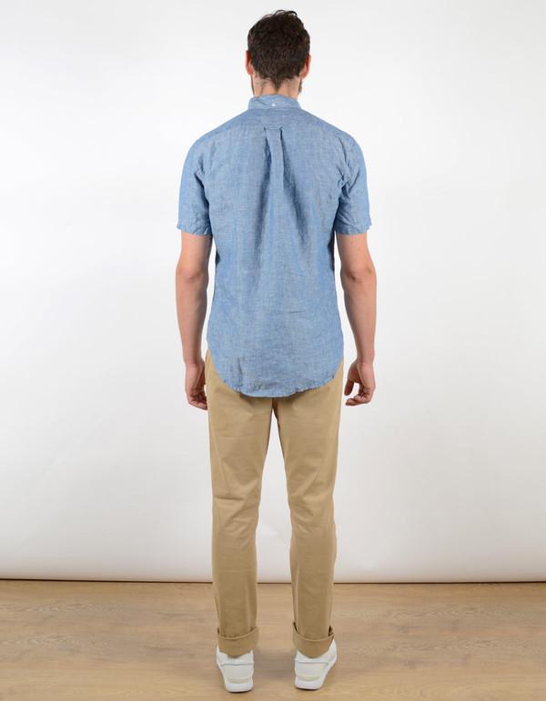 Gitman Vintage Short Sleeve Linen Oxford Blue Chambray