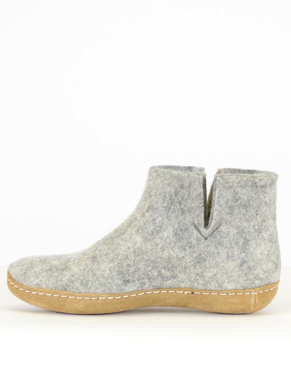 Glerups Men's Wool Boot Leather Sole Grey