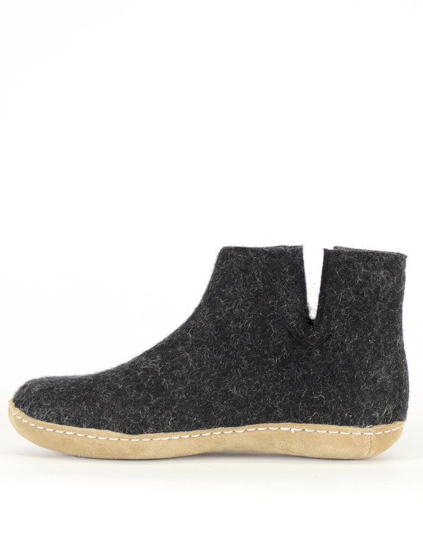 Glerups Women's Wool Boot Leather Sole Charcoal