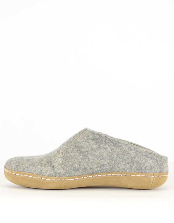 Glerups Women's Wool Slipper Leather Sole Grey