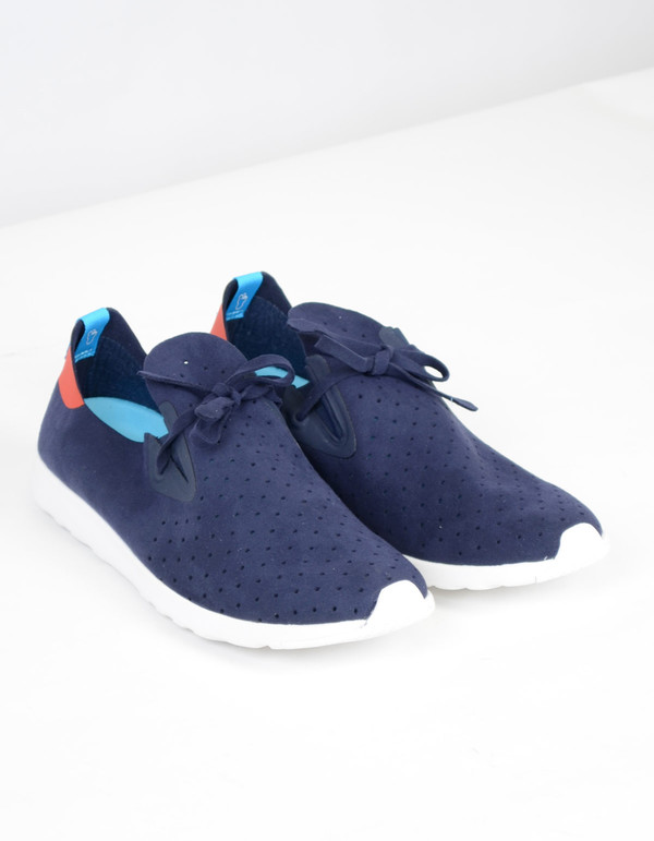 Men's Native Shoes Native Apollo Moc Regatta Blue with Torch Red and Shell White