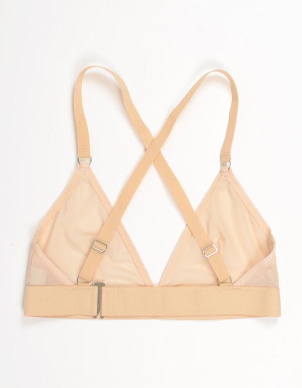 Nude Label Triangle Cross-Back Bra Sheer Nude