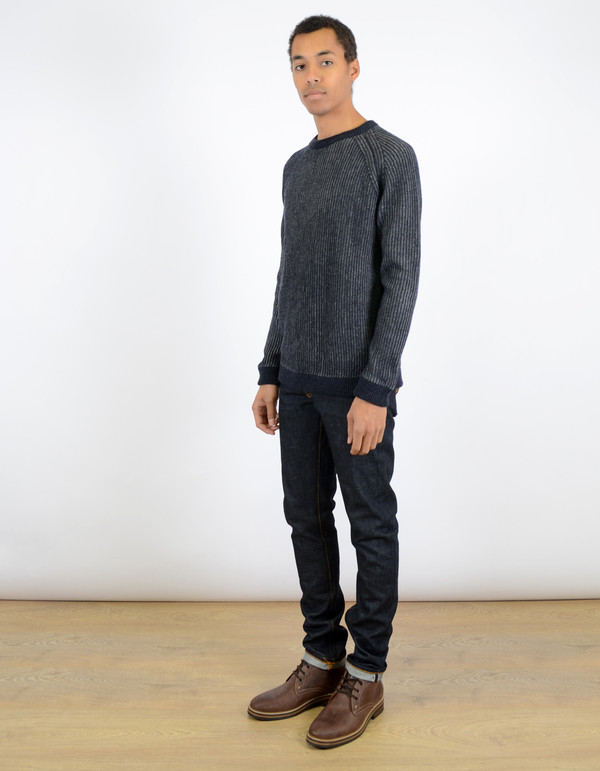 Men's Nudie Aron Two Tone Knit Sweater Navy