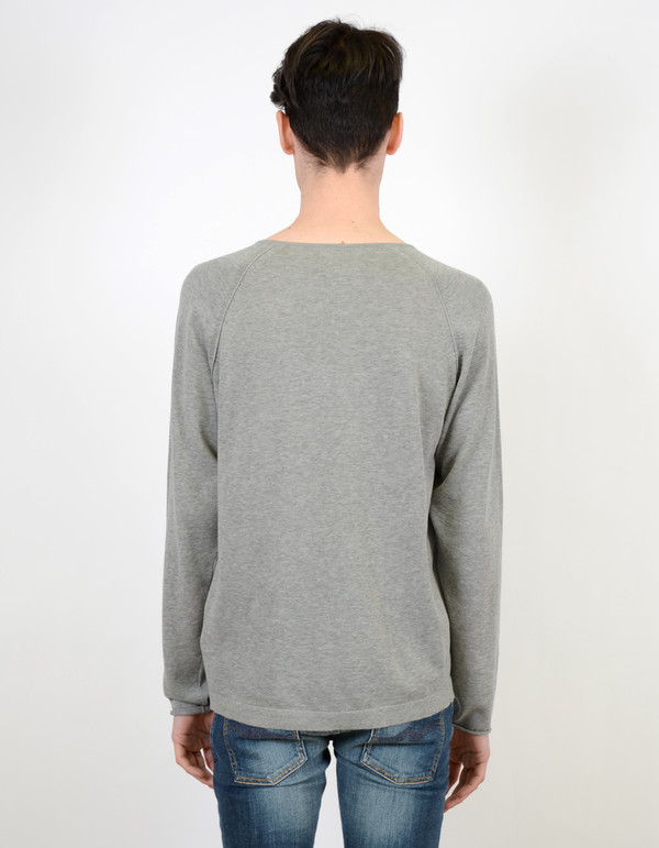 Men's Nudie Vladimir Fine Cotton Sweater Light Grey