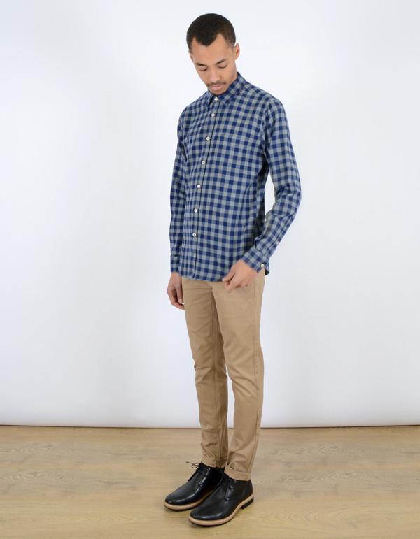 Men's Portuguese Flannel Serralves Shirt Blue Check