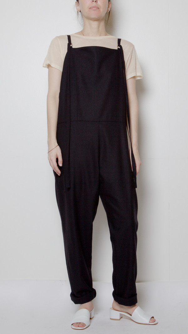 Baserange Long Strap Overalls in Black