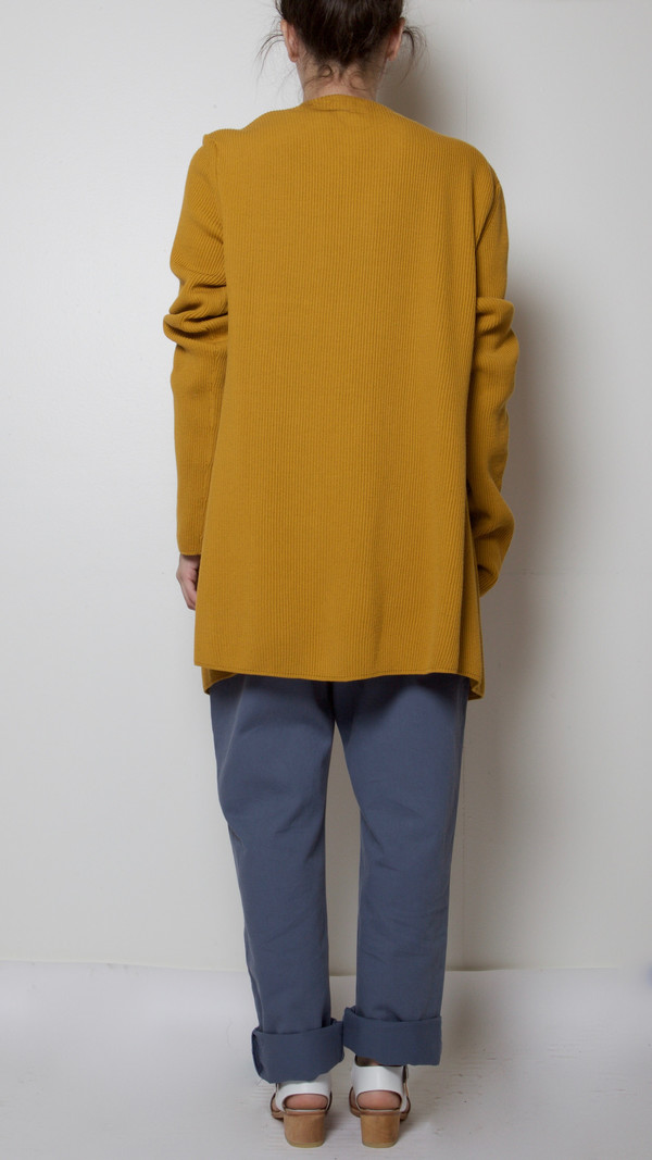 Suzanne Rae Double-Breasted Cardigan in Mustard