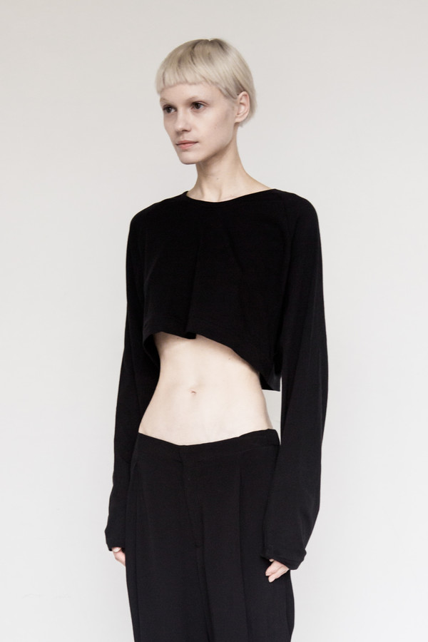 David Michael Cotton Cropped Sweater - Black