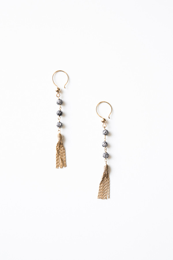 Jorge Morales Gold Plated Zirconia Dangle Earrings