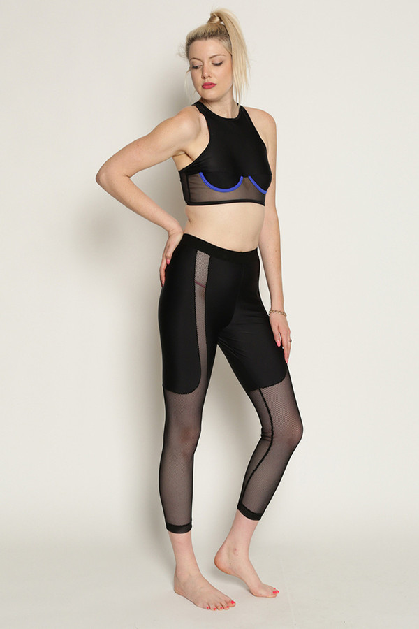 Chromat Racer Top in Black/Blue