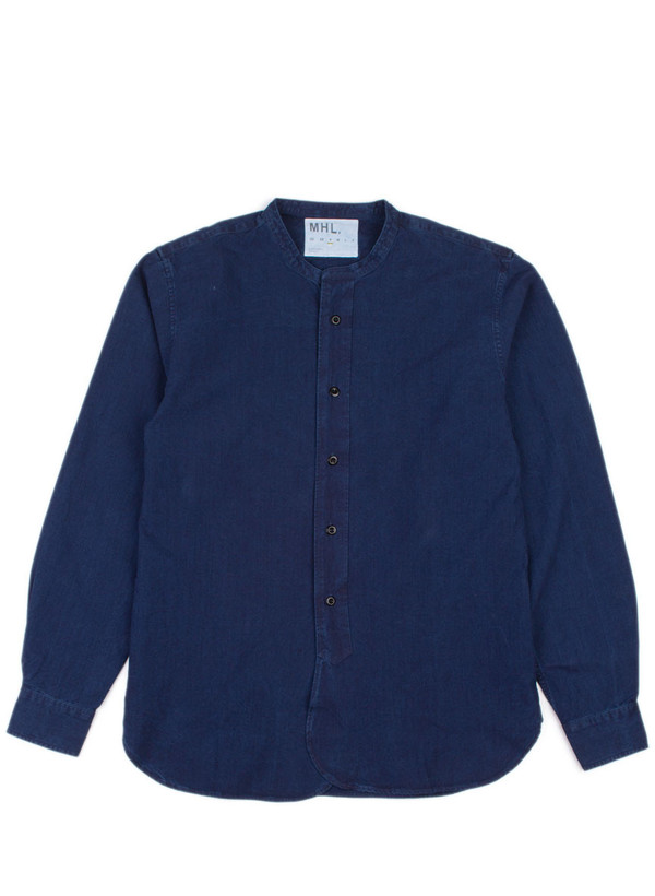 Men's MHL Margaret Howell Collarless Shirt Fine Denim Canvas Indigo