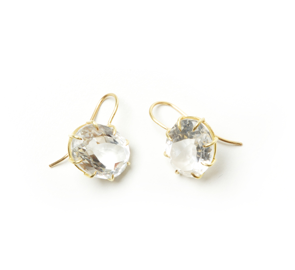 Rosanne Pugliese 18K Faceted Rock Crystal Vintage Earring