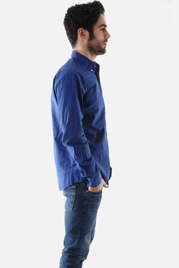 Men's Schnayderman's Mid Blue Leisure One Wrinkled Poplinl Shirt