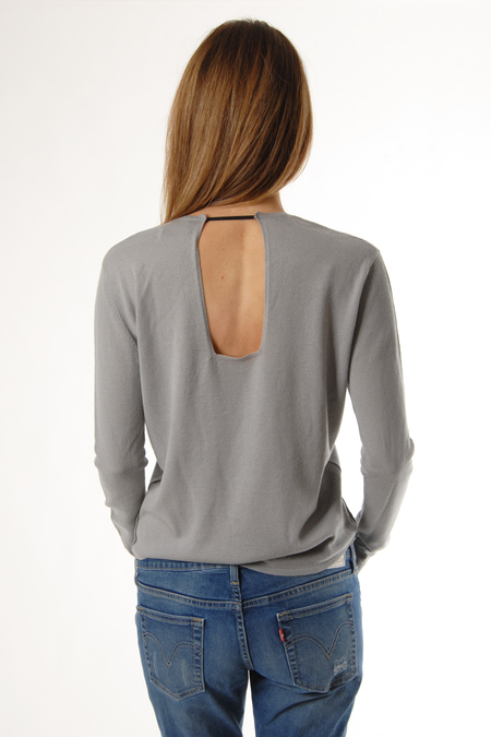 Taupe Cashmere Pullover With Cut Out by Oyuna