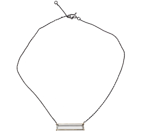Rosanne Pugliese Oxidized Silver and Rock Crystal Bar Necklace