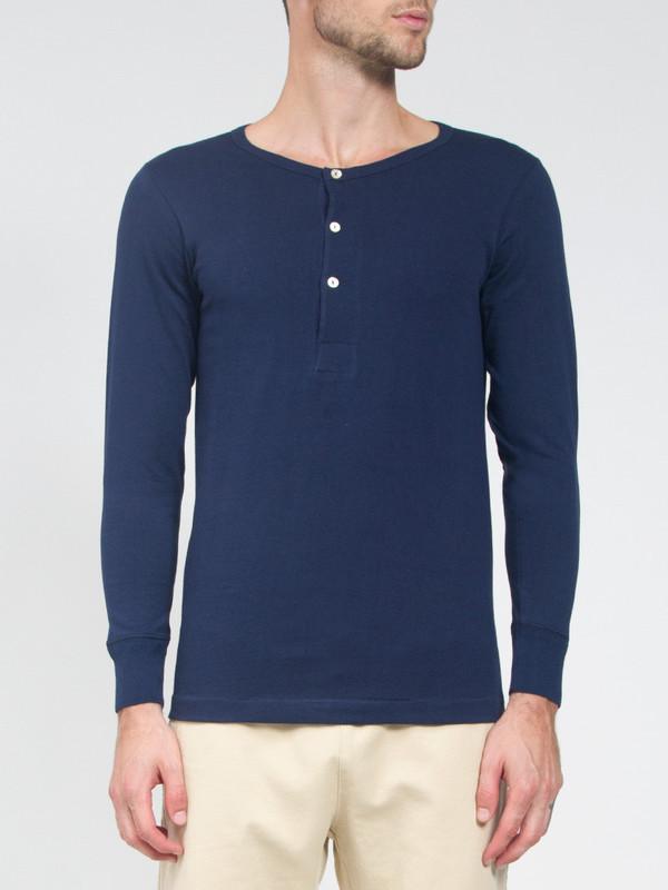 Men's Merz B Schwanen Blue Longsleeve Henley