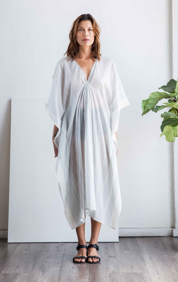 Two NYC Grey stripe v neck caftan