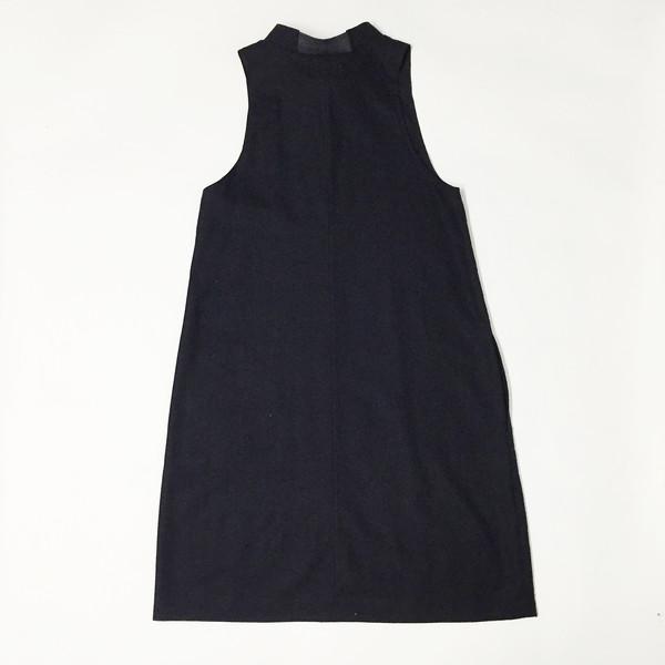 Laurs Kemp Black Raw Silk Mockneck Dress