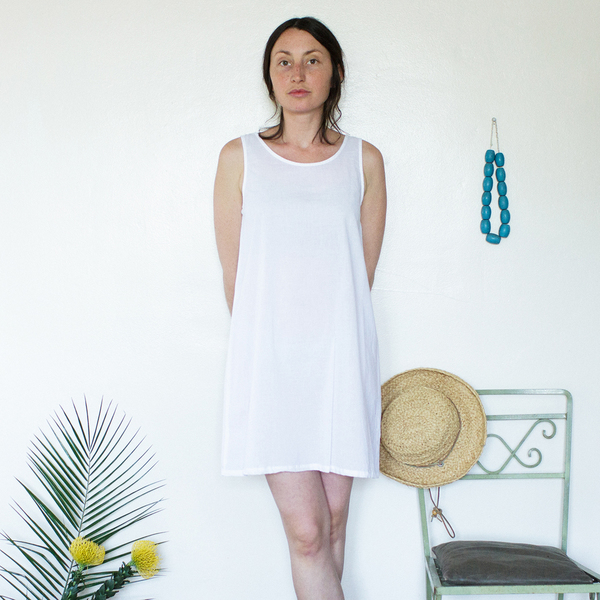 Unknown Tank Dress Slip<br>Lightweight Cotton White