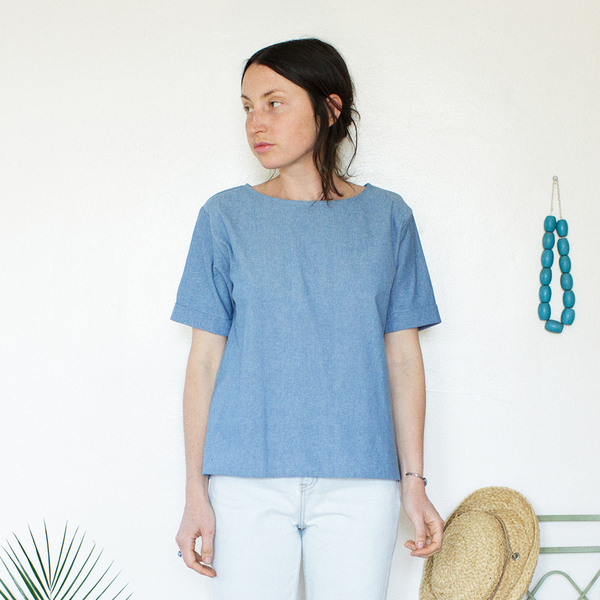 Me & Arrow Square Top - Lt. Indigo Chambray