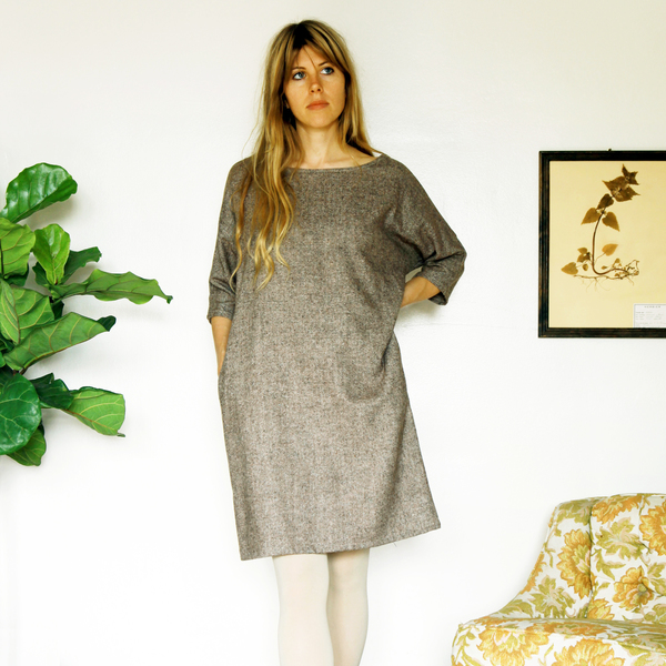 Unknown Dolman Dress<br>Speckled Tweed
