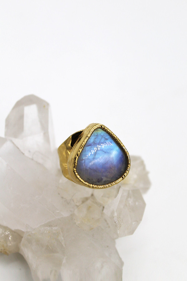 Sheila B Rainbow Moonstone Ring