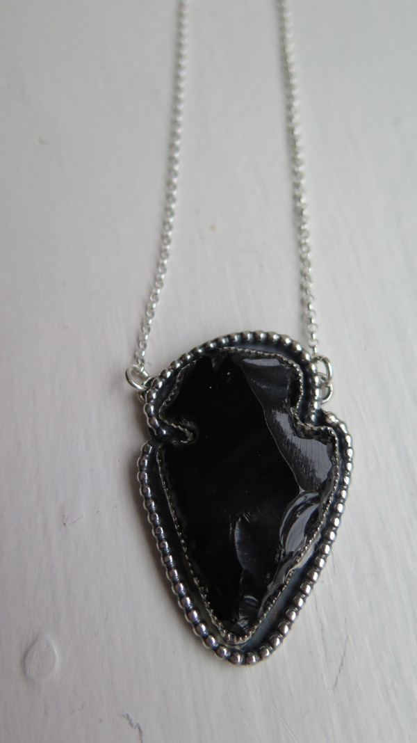 Black Obsidian Arrowhead Pendant Necklace