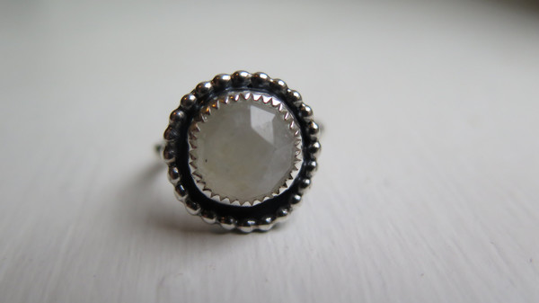 Small round moonstone ring