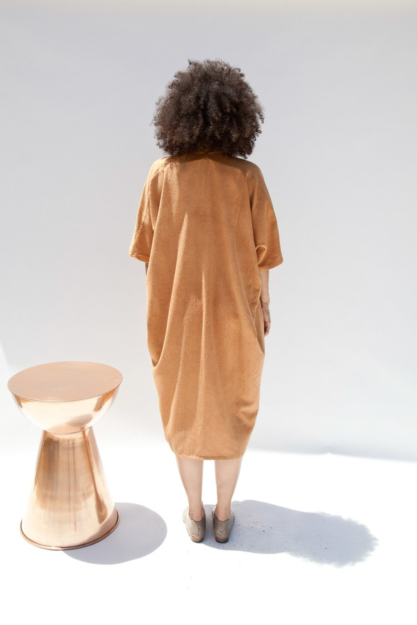 Miranda Bennett Muse Dress, Oversized, Silk Noil in Camel