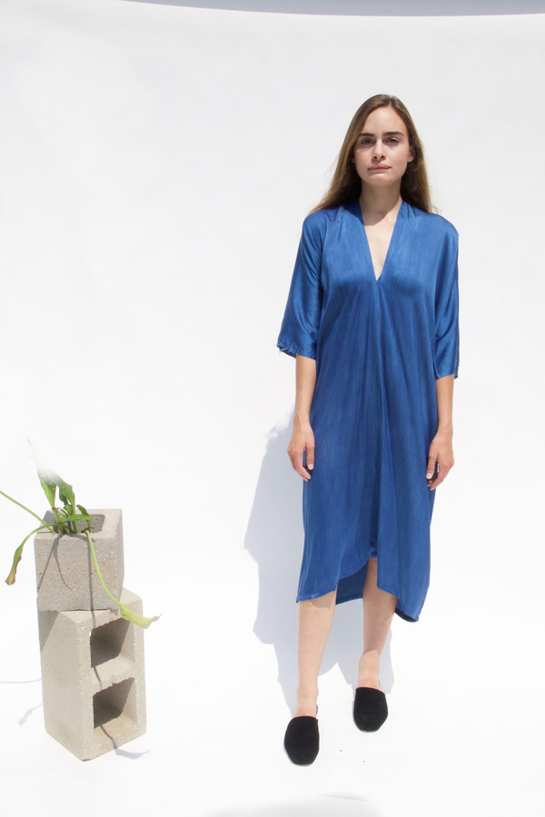 Miranda Bennett Muse Dress, Silk Charmeuse in Indigo