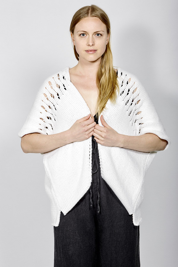 Wol Hide Poncho Cardigan White