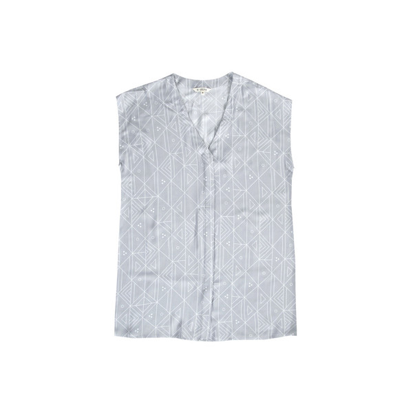 Ali Golden Button-Down Shirt in Grey Print