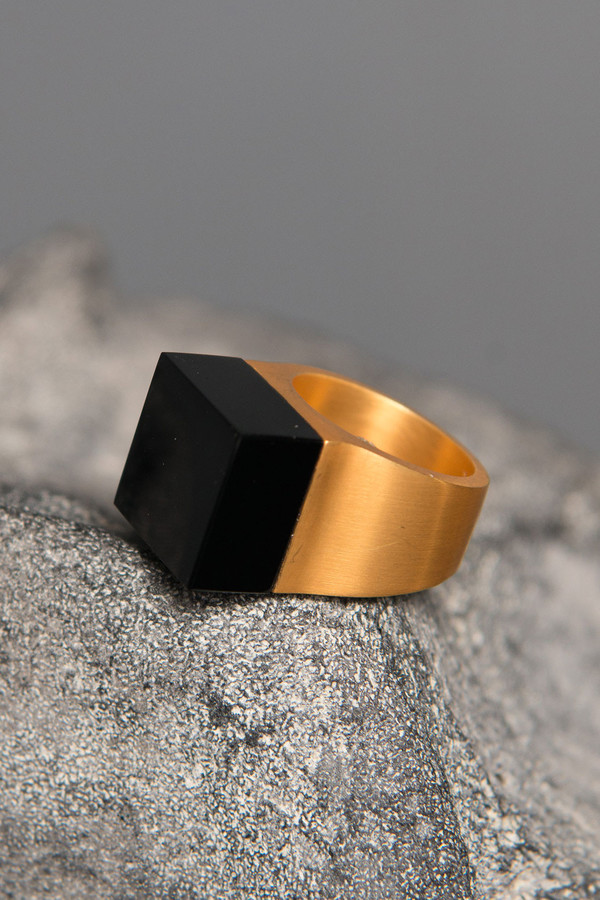 Ming Yu Wang Brass Vector Large Block Ring